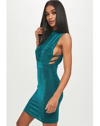 Missguided - Teal Slinky High Neck Dress - Lyst