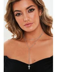 Missguided - Silver Look Diamante Cross Multirow Necklace - Lyst