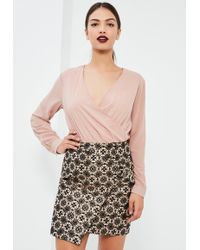 Missguided - Patterned Jacquard Tie Side Asymmetric Skirt - Lyst