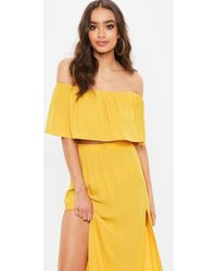 Missguided - Yellow Frill Bardot Crop Top - Lyst
