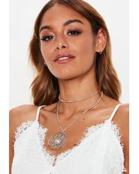 Missguided - Gold Statement Jewelled Pendant Necklace - Lyst