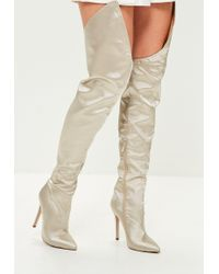 Missguided   Beige Satin Over The Knee Boots   Lyst