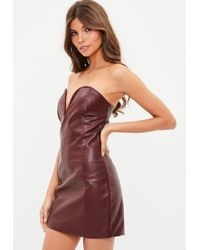 Missguided - Burgundy Faux Leather V Bar Plunge Bodycon Dress - Lyst