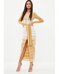 Missguided - Camel Premium Bandage Stripe Midi Dress - Lyst