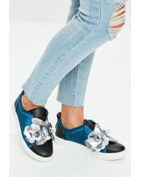 Missguided - Navy Satin Flower Slip On Trainers - Lyst