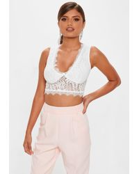 Missguided - White Corded Lace Seamed Crop Top - Lyst