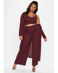 Missguided - Plus Size Burgundy Ribbed Trousers - Lyst