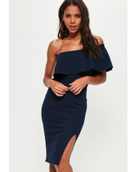Missguided | Navy One Shoulder Frill Split Midi Dress | Lyst