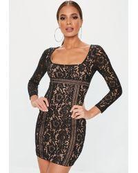 5f7924eba8 Lyst - Missguided Black Lace Overlay Short Sleeve Dress in Black
