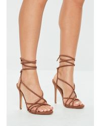 Missguided - Tan Tie Up Gladiator Sandals - Lyst