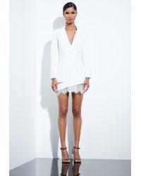 Missguided - Peace + Love White Lace Hem Blazer Dress - Lyst
