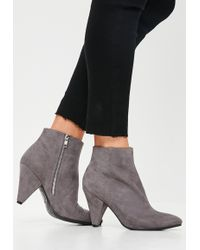 Missguided - Grey Cone Heel Ankle Boots - Lyst