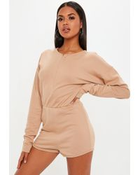 31f7db3edb Lyst - Missguided Crepe Wrap Front Playsuit Camel in Natural