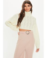 7f5baa6ba5 Lyst - Missguided Roll Neck Lace Up Side Sweater Cream in Natural