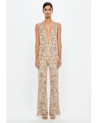 Missguided - Peace + Love Nude Embellished Plunge Jumpsuit - Lyst