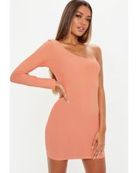 Missguided - Terracotta One Shoulder Mini Dress - Lyst