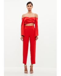 Missguided - Peace + Love Red Bardot Crepe Wrap Top - Lyst