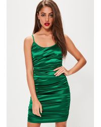 Missguided - Green Satin Ruched Side Mini Dress - Lyst