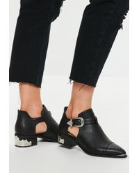 Missguided - Black Cut Out Western Ankle Boots - Lyst