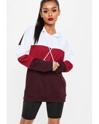 Missguided - Red Color Block Oversized Hoodie - Lyst