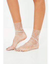 Missguided - White Mesh Diamante Socks - Lyst