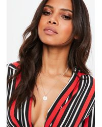 Missguided - Rose Gold Look Coin 2 Row Ditsy - Lyst