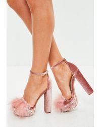 Missguided - Pink Feather Trim Velvet Platforms - Lyst