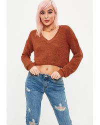 Missguided - Tan V Front Plunge Crop Jumper - Lyst