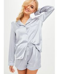 Missguided | Grey Satin Pyjama Set | Lyst