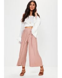 Missguided - Petite Pink Pleated Skinny Tie Belt Culottes - Lyst