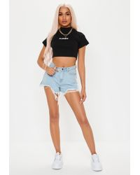 Missguided - Playboy X Black High Neck Ribbed Embroidered Crop Top - Lyst