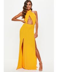 Missguided - Yellow Cut Out Tie Front Maxi Dress - Lyst