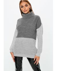 8e3cb749fb Lyst - Missguided Grey Chunky Lace Up Side Turtleneck Sweater in Gray