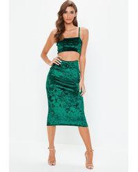 Missguided - Green Crushed Velvet Cami Top Skirt Co Ord Set - Lyst