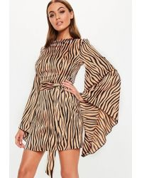 Missguided - Camel Stripe Zebra Print Kimono Sleeve Dress - Lyst
