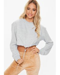 Missguided - Gray Cropped Toggle Sweatshirt - Lyst