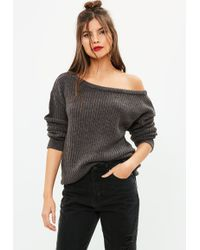 Missguided - Grey Off Shoulder Knitted Jumper - Lyst
