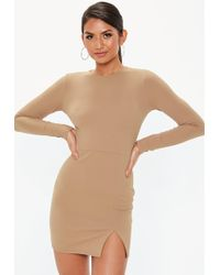 Missguided - Camel Crepe Long Sleeve Bodycon Dress - Lyst