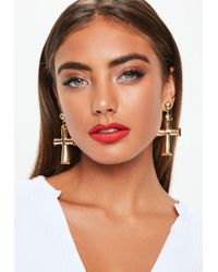 Missguided - Gold Chunky Cross Earrings - Lyst