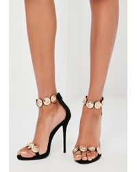 Missguided | Peace + Love Black Embellished Strap Heeled Sandals | Lyst
