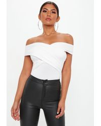 Missguided - White Wrap Bardot Bodysuit - Lyst