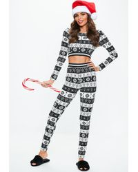 Missguided - Black Fair Isle Lounge Set - Lyst