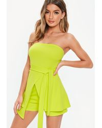 84ce9c88596 Lyst - Missguided Open Back Skort Romper Monochrome in White