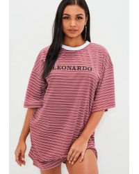 Missguided - Red Striped Leonardo Slogan T Shirt Dress - Lyst