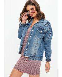 Missguided - Blue Denim Floral Embroidered Raw Hem Jacket - Lyst
