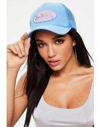 Missguided - Von Dutch Blue Mesh Baseball Cap - Lyst 8a905b4004