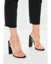 Missguided - Black Chain Trim Perspex Heeled Mules - Lyst
