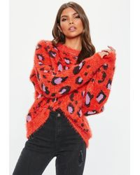 Missguided - Orange Crew Neck Bold Animal Knitted Jumper - Lyst