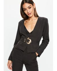 Missguided - Black Cropped Western Belt Blazer - Lyst
