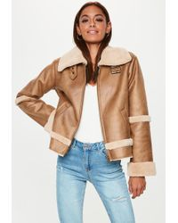 Missguided - Brown Crop Zip Aviator Jacket - Lyst